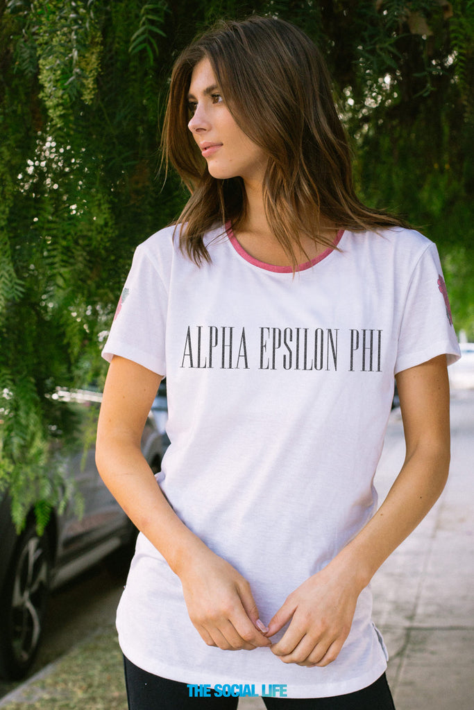 Alpha Epsilon Phi Rose Shoulder Scoop Tee