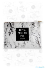 Alpha Epsilon Phi White Marble Cosmetic Bag