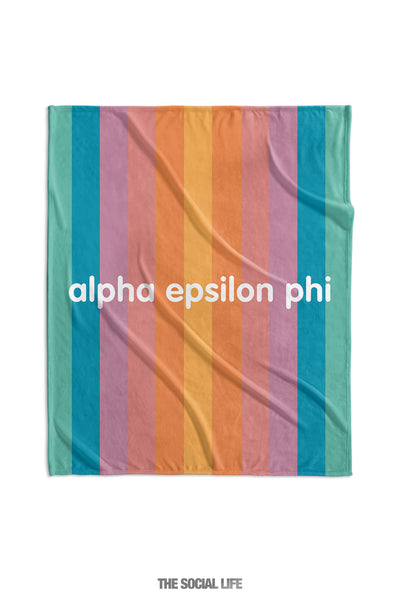 Alpha Epsilon Phi Horizon Stripe Velvet Plush Blanket