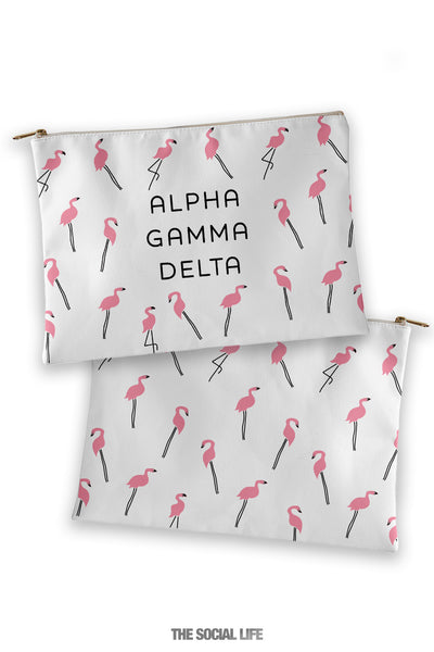 Alpha Gamma Delta Flamingo Cosmetic Bag