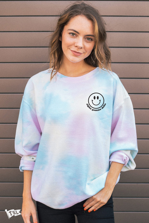 Alpha Gamma Delta Happy Tie Dye Corded Crewneck