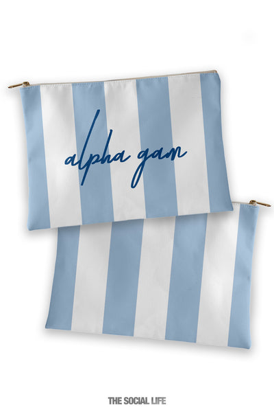 Alpha Gamma Delta Striped Cosmetic Bag