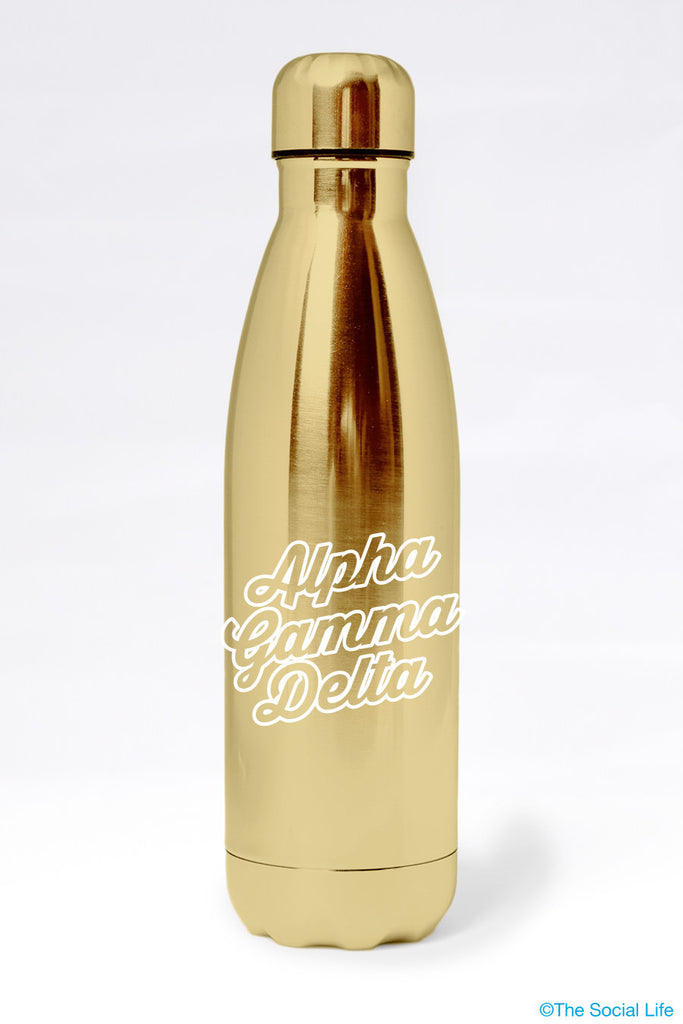 Alpha Gamma Delta Metallic Gold Water Bottle