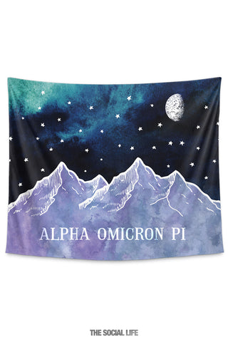 Alpha Omicron Pi Mountain Night Tapestry