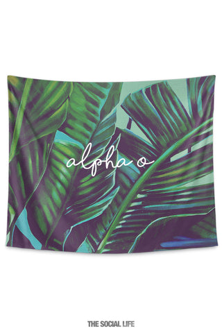 Alpha Omicron Pi Painted Palms Tapestry