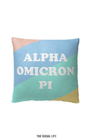 Alpha Omicron Pi Pastel Colorblock Pillow