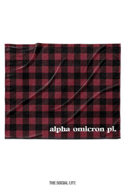 Alpha Omicron Pi Plaid Velvet Plush Blanket