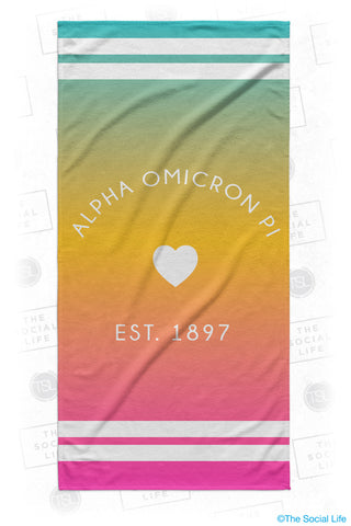 Alpha Omicron Pi Rainbow Heart Beach Towel