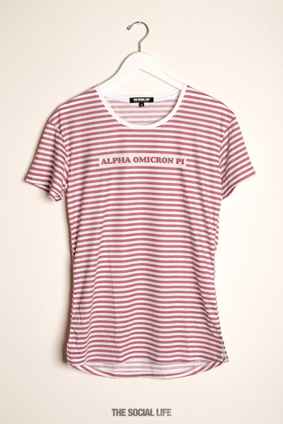 Alpha Omicron Pi Red Stripe Scoop Tee