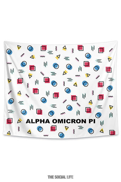Alpha Omicron Pi Squigglies Tapestry