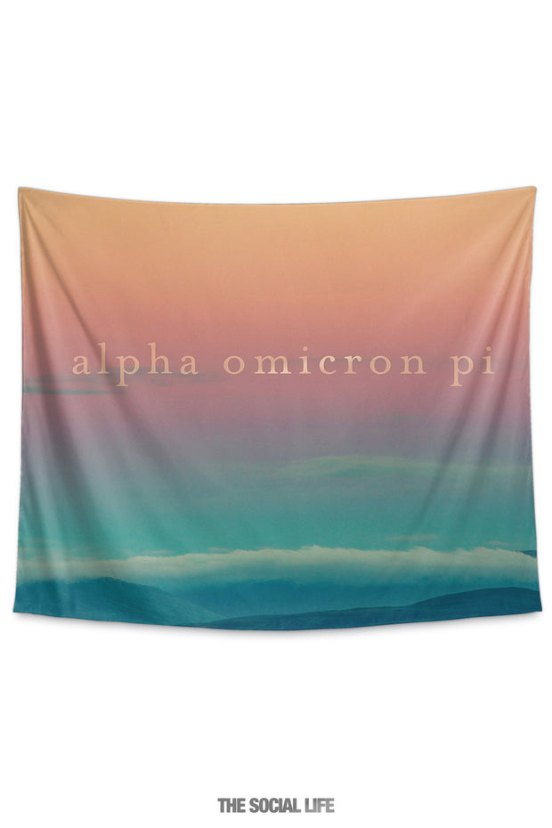 Alpha Omicron Pi Sunset Tapestry