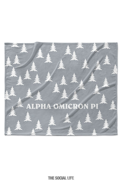Alpha Omicron Pi Grey Pines Velvet Plush Blanket