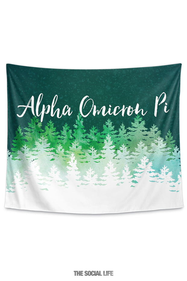 Alpha Omicron Pi Cascading Pines Tapestry