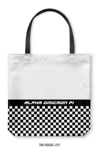 Alpha Omicron Pi Checkered Tote Bag