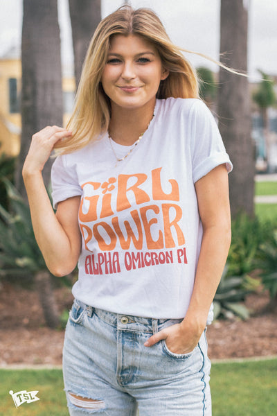 Alpha Omicron Pi Groovy Girl Power Tee