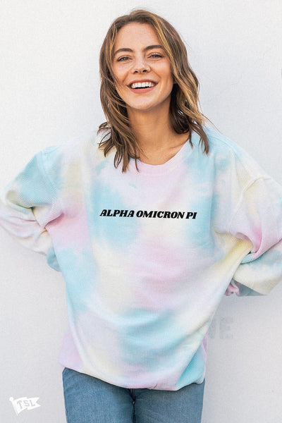 Alpha Omicron Pi Tie Dye Corded Crewneck (BACKORDERED)