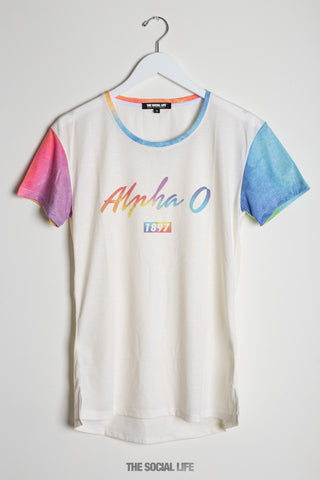 Alpha Omicron Pi Airbrush Scoop Tee