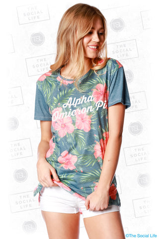 Alpha Omicron Pi Vintage Hawaiian Scoop Tee