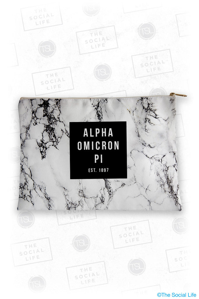 Alpha Omicron Pi White Marble Cosmetic Bag