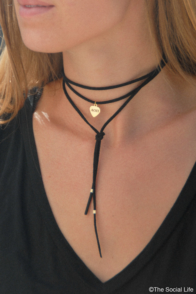 Alpha Omicron Pi Leather Wrap Necklace