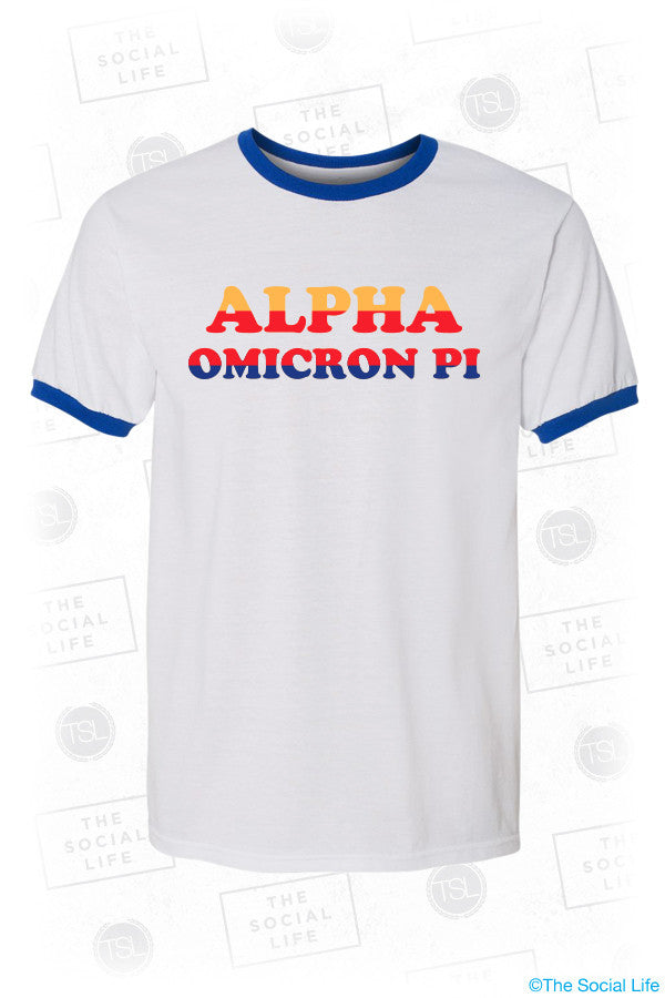 Alpha Omciron Pi Good Vibes Ringer Tee