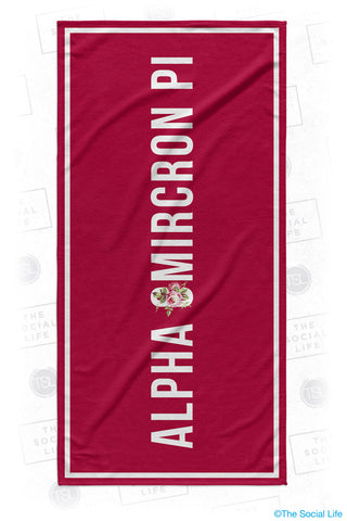 Alpha Omicron Pi Rose Beach Towel