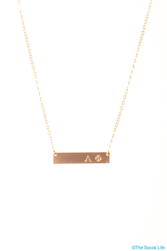 Alpha Phi 14K Gold Nameplate Necklace