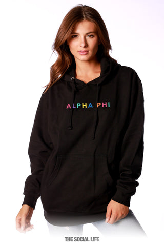 Alpha Phi Spectrum Embroidered Hoodie