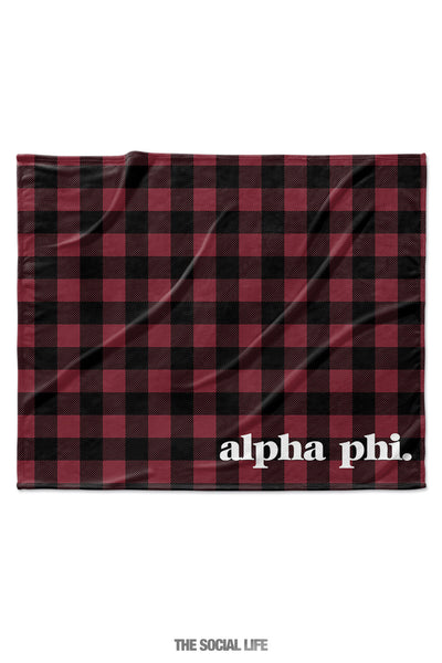 Alpha Phi Plaid Velvet Plush Blanket