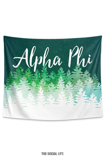 Alpha Phi Cascading Pines Tapestry