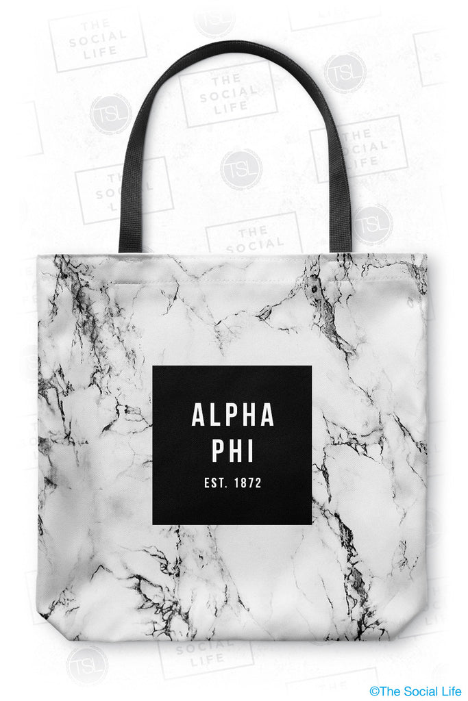 Alpha Phi White Marble Tote Bag