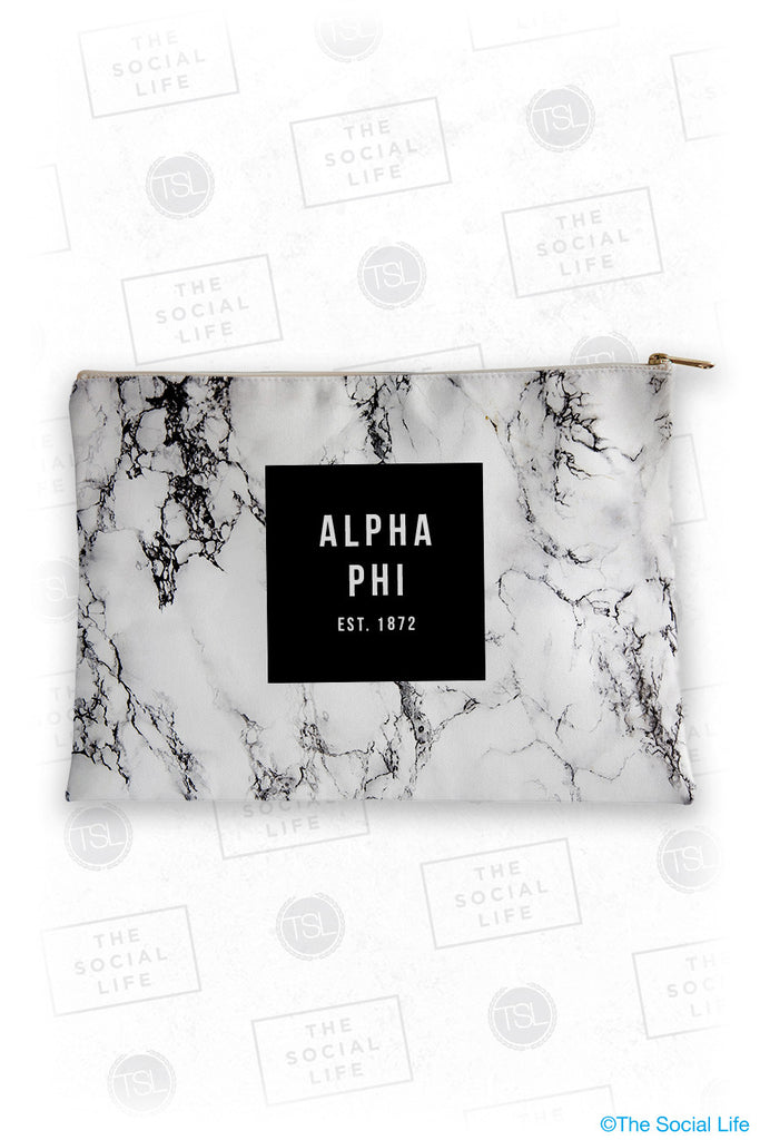 Alpha Phi White Marble Cosmetic Bag