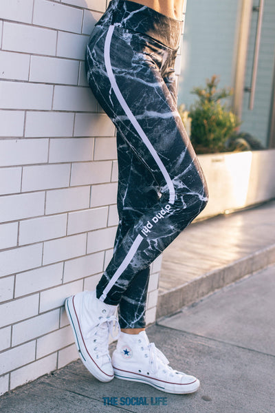 Alpha Phi Black Marble Leggings