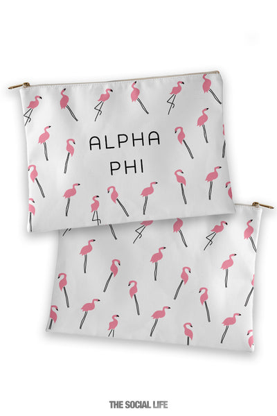 Alpha Phi Flamingo Cosmetic Bag