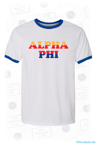 Alpha Phi Good Vibes Ringer Tee