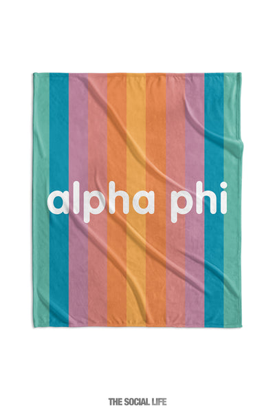 Alpha Phi Horizon Stripe Velvet Plush Blanket