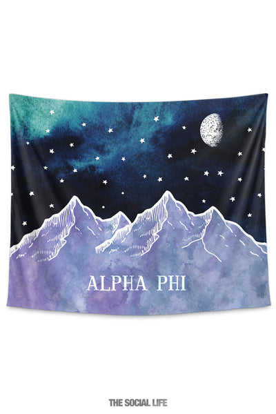 Alpha Phi Mountain Night Tapestry
