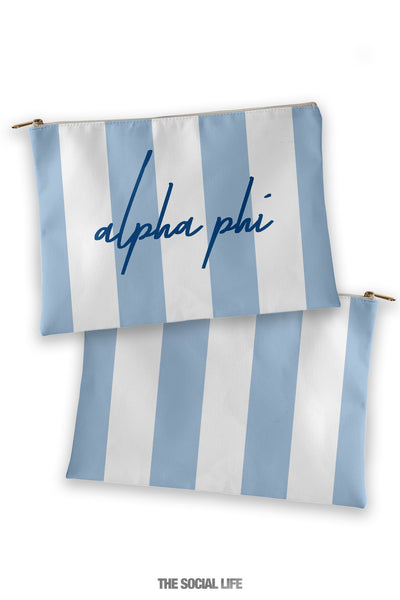 Alpha Phi Striped Cosmetic Bag