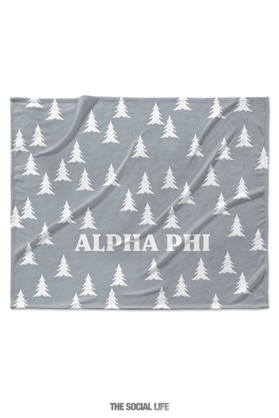 Alpha Phi Grey Pines Velvet Plush Blanket