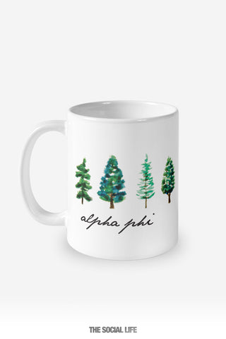 Alpha Phi Watercolor Pines Mug