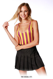 Game Day Striped Bodysuit - Maroon / Gold