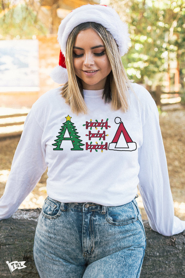 Alpha Xi Delta Holiday Letter Long Sleeve