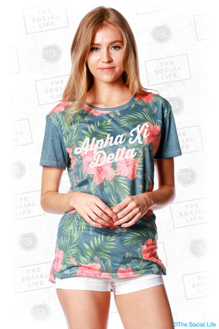 Alpha Xi Delta Vintage Hawaiian Scoop Tee