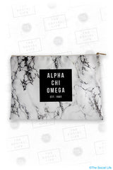 Alpha Chi Omega White Marble Cosmetic Bag