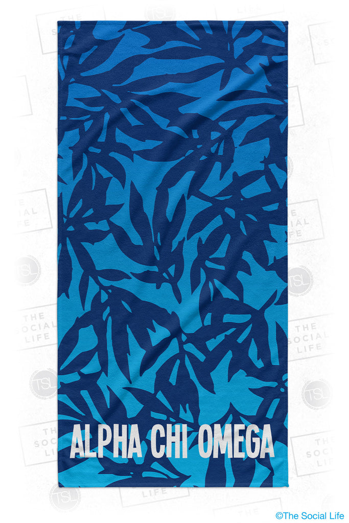 Alpha Chi Omega Sea Leaf Beach Towel