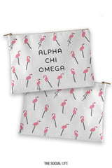 Alpha Chi Omega Flamingo Cosmetic Bag