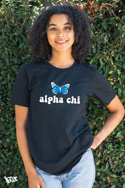 Alpha Chi Omega Groovy Butterfly Tee