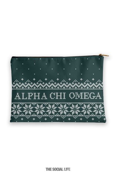 Alpha Chi Omega Holiday Cosmetic Bag