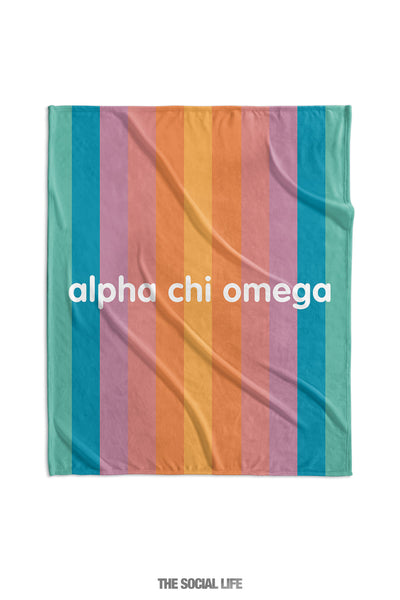 Alpha Chi Omega Horizon Stripe Velvet Plush Blanket