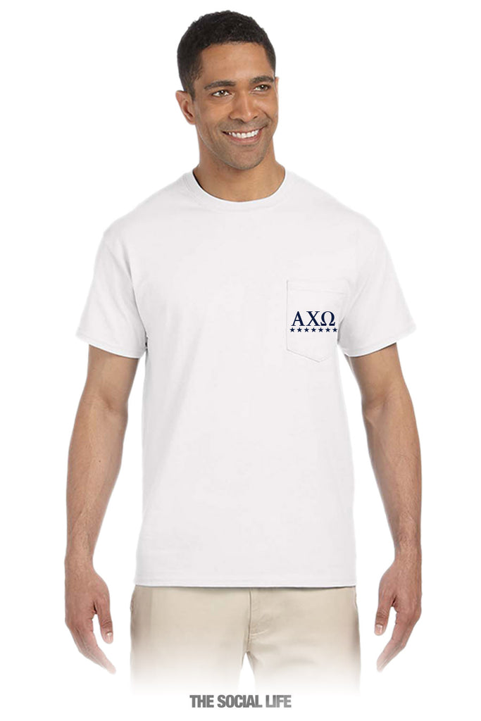 Alpha Chi Omega Kind of Guy (American Dream) Pocket Tee